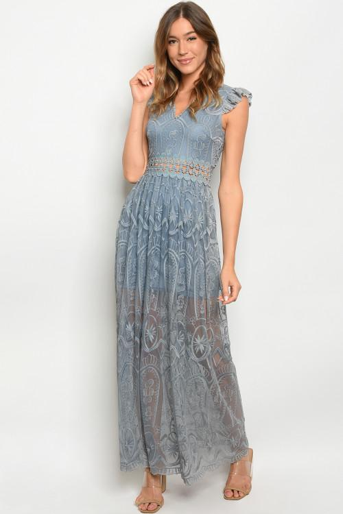 One True Love Maxi Dress: Dusty Blue - Bella and Bloom Boutique