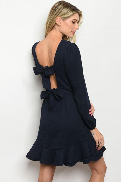 Bow So Cute Dress: Navy - Bella and Bloom Boutique