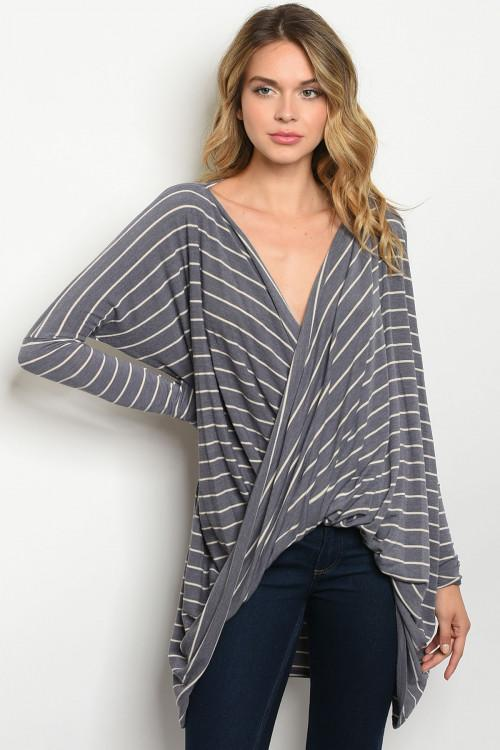 Fall Cutie Top: Blue-Gray/Ivory - Bella and Bloom Boutique