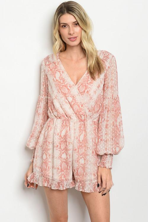 Wild Side Romper: Blush/Ivory - Bella and Bloom Boutique