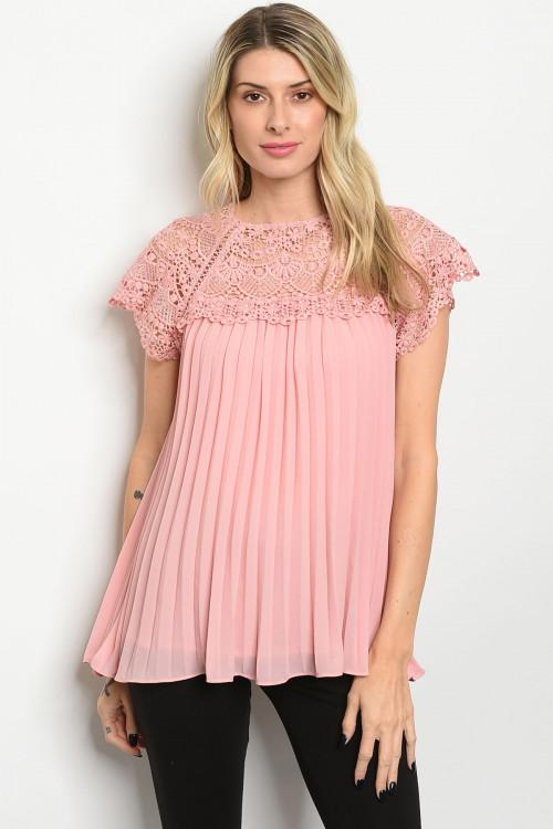 Angel Kiss Pleated Top: Light Pink - Bella and Bloom Boutique