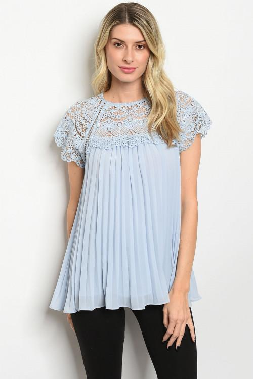 Angel Kiss Pleated Top: Light Blue - Bella and Bloom Boutique