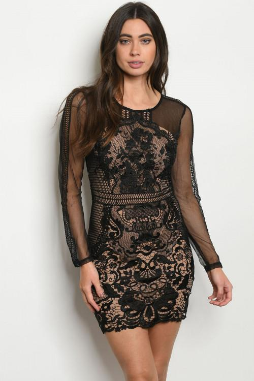 Beautiful Girl Lace Dress: Black/Nude - Bella and Bloom Boutique