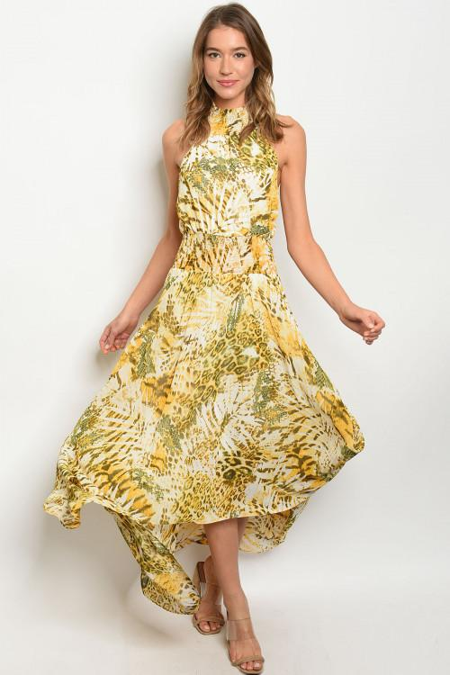 Animal Instinct Maxi Dress: Yellow Multi - Bella and Bloom Boutique