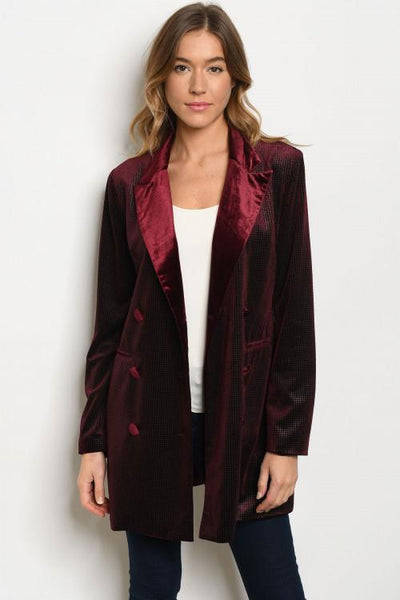 Chic Nights Velvet Blazer: Burgundy - Bella and Bloom Boutique