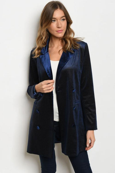 Chic Nights Velvet Blazer: Navy - Bella and Bloom Boutique