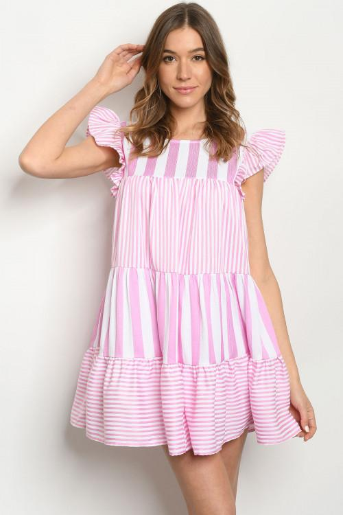 A Little Sweeter Dress: Pink/White - Bella and Bloom Boutique