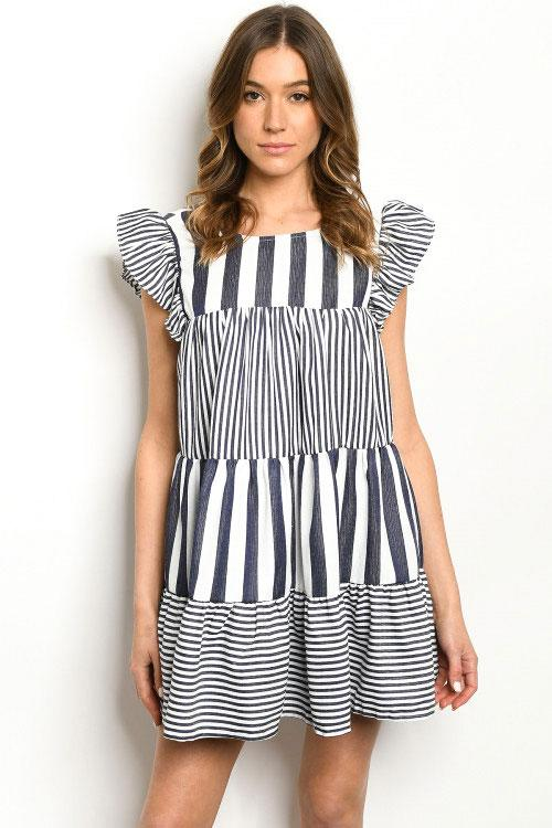 A Little Sweeter Dress: Navy/White - Bella and Bloom Boutique