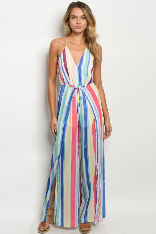 Rainbow Crush Jumpsuit: Multi - Bella and Bloom Boutique