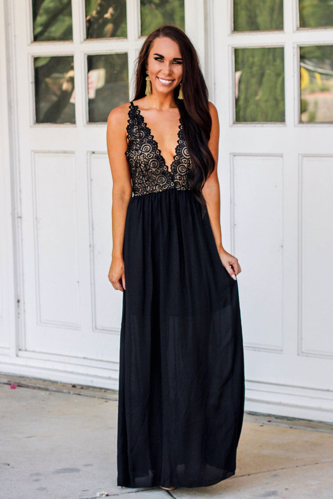 RESTOCK: Take the Plunge Maxi Dress: Black/Gold - Bella and Bloom Boutique