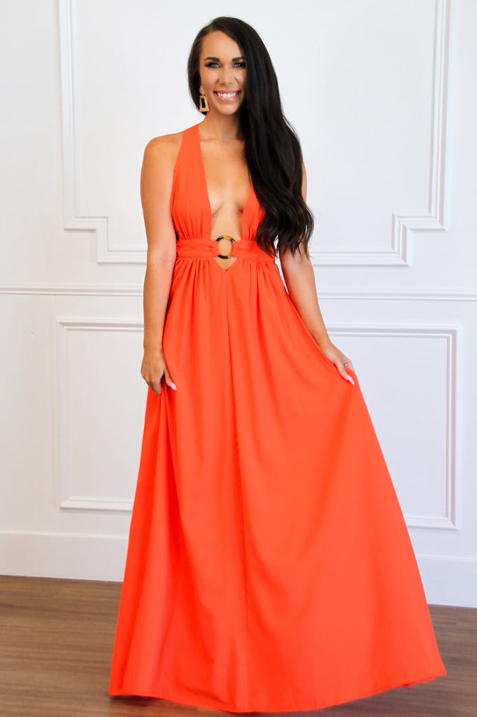 RESTOCK: Wear My Ring Maxi Dress: Orange - Bella and Bloom Boutique