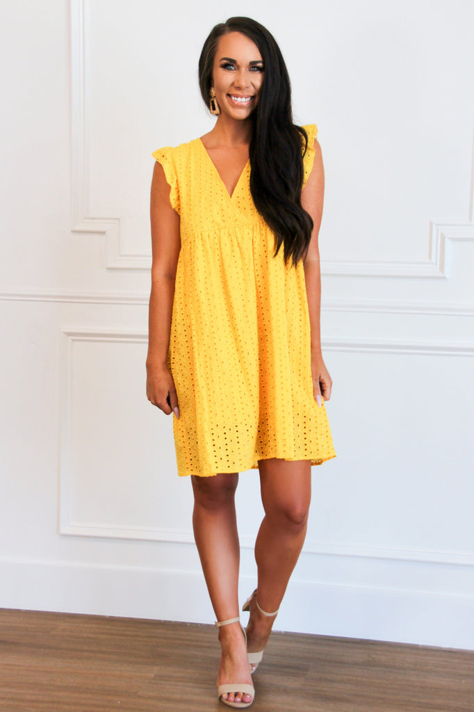 Angel Above Eyelet Dress: Yellow - Bella and Bloom Boutique