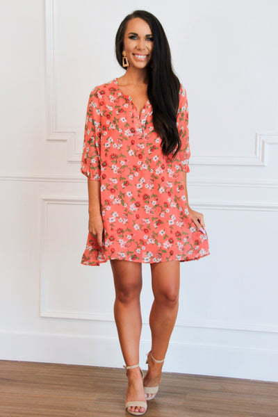 Summer Days Dress: Coral Multi - Bella and Bloom Boutique