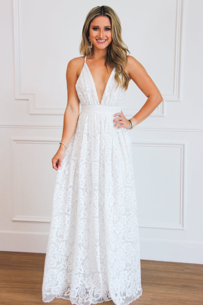 Storybook Love Maxi Dress: White - Bella and Bloom Boutique