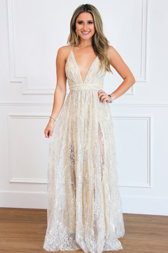 RESTOCK: Pure Bliss Embellished Lace Maxi Dress: Cream/Black - Bella and Bloom Boutique