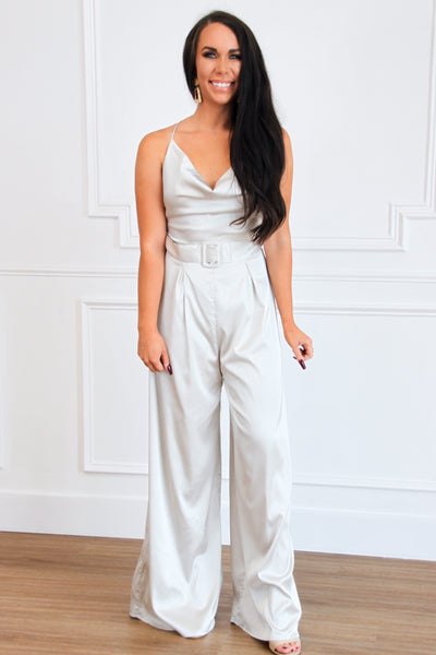 Champagne Hour Satin Jumpsuit: Champagne - Bella and Bloom Boutique