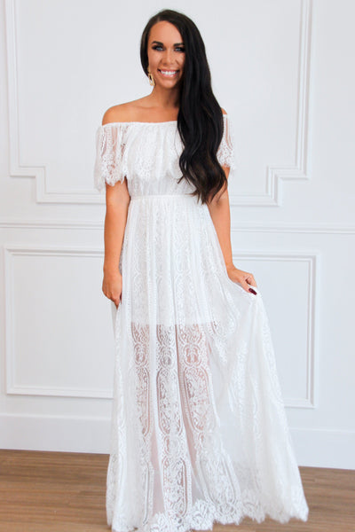 Laced in Love Maxi Dress: White - Bella and Bloom Boutique