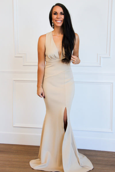 Wrapped Up in You Maxi Dress: Taupe - Bella and Bloom Boutique