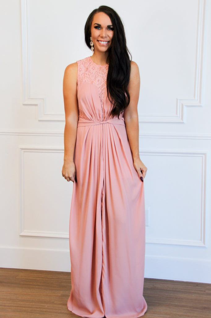 Sweet Twist Maxi Dress: Blush - Bella and Bloom Boutique