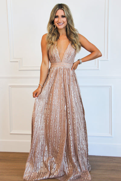 Raining Glitter Maxi Dress: Rose Gold - Bella and Bloom Boutique