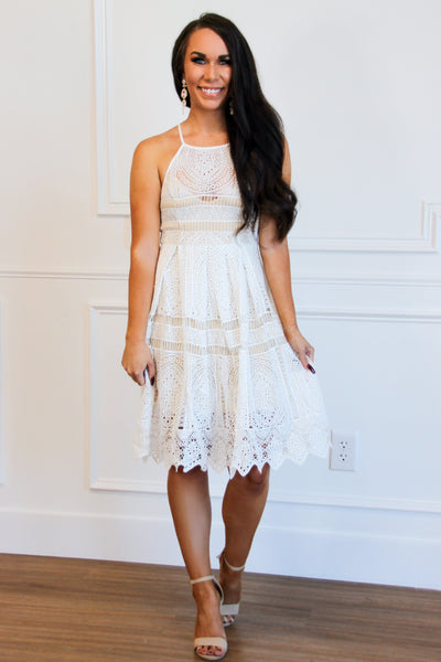 Forever Love Midi Dress: Ivory/Nude - Bella and Bloom Boutique