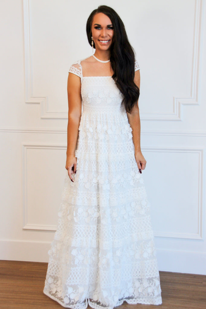 One and Only Lace Maxi Dress: White - Bella and Bloom Boutique