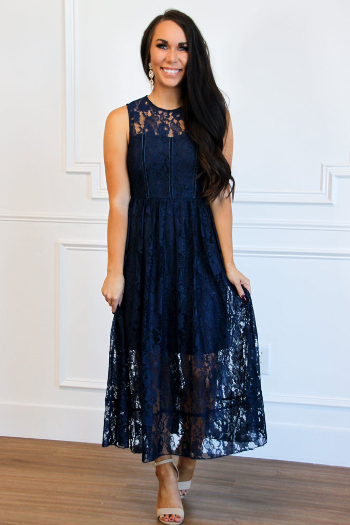 Event of the Season Lace Midi Dress: Navy - Bella and Bloom Boutique