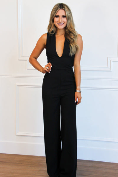 RESTOCK: Look Back at It Jumpsuit: Black - Bella and Bloom Boutique