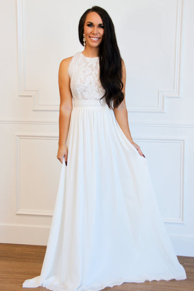 Forever Looks Good on You Lace Maxi Dress: White - Bella and Bloom Boutique