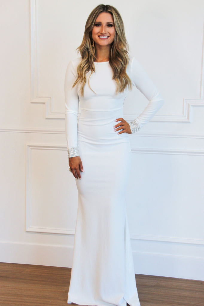 RESTOCK: Sleek Sparkle Maxi Dress: White - Bella and Bloom Boutique
