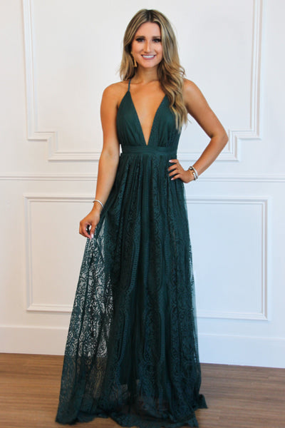RESTOCK: Enchanted Nights Lace Maxi Dress: Hunter Green - Bella and Bloom Boutique