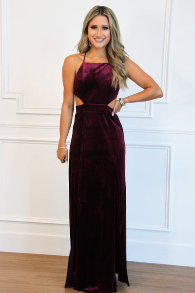 RESTOCK: Wrapped in Velvet Maxi Dress: Burgundy - Bella and Bloom Boutique