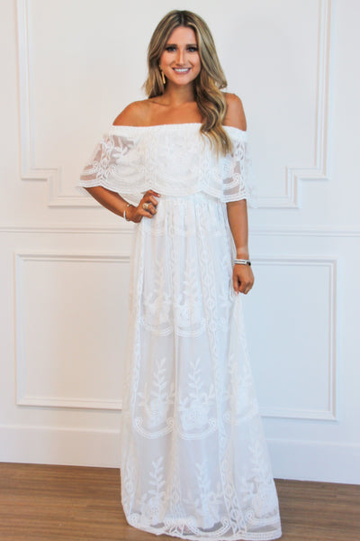 PRE-ORDER: Ever After Lace Maxi Dress: White - Bella and Bloom Boutique