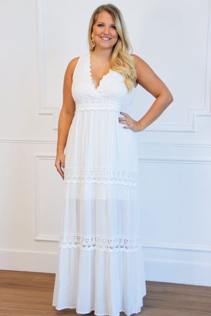 Sound of Your Heart Maxi Dress: Ivory - Bella and Bloom Boutique