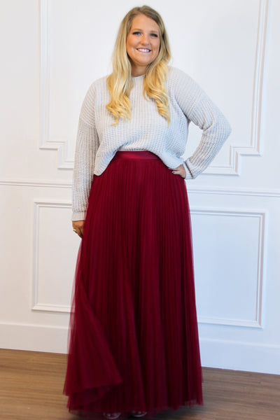Fall Dreams Pleated Maxi Skirt: Burgundy - Bella and Bloom Boutique