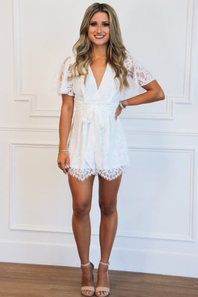 RESTOCK: Delicate Lace Romper: White - Bella and Bloom Boutique