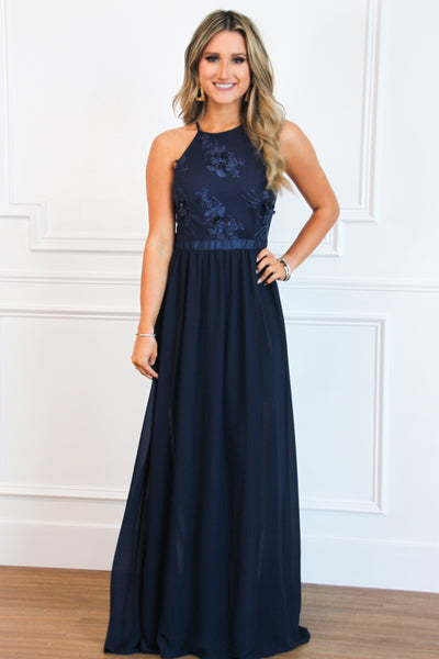 Leilani Maxi Dress: Navy - Bella and Bloom Boutique