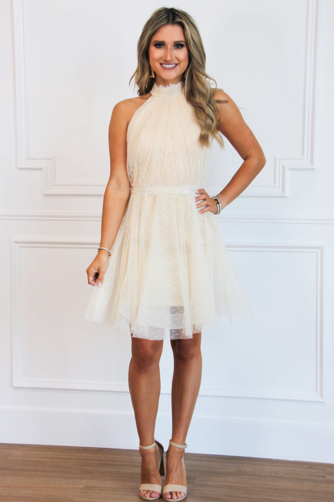 Cocktail Party Dress: Ivory/Nude - Bella and Bloom Boutique