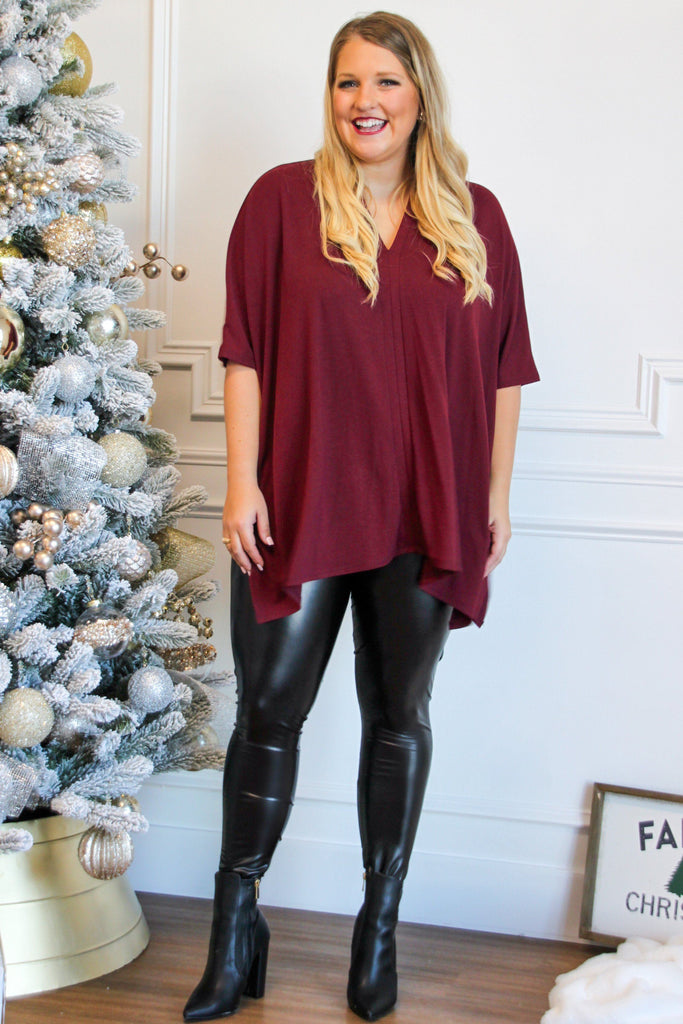 Worth it All Sweater: Burgundy - Bella and Bloom Boutique