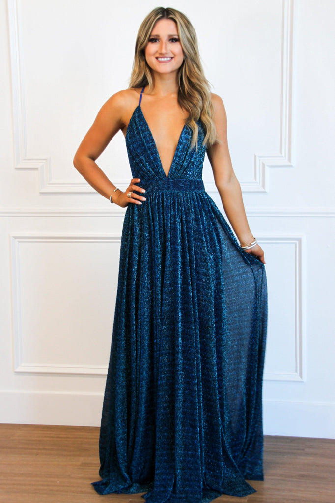 All That Glitters Maxi Dress: Blue/Green - Bella and Bloom Boutique