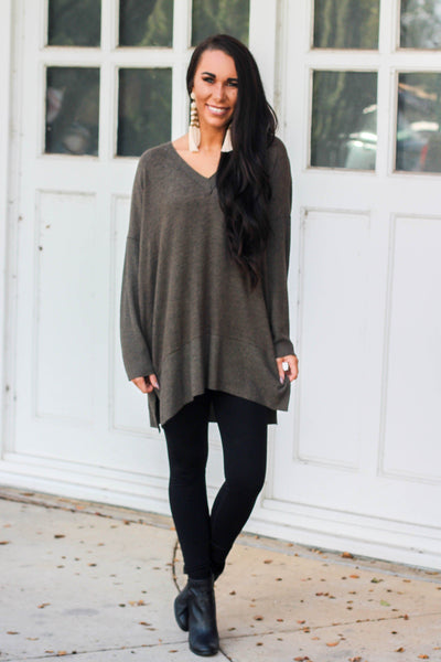 Let it Go Sweater: Olive - Bella and Bloom Boutique