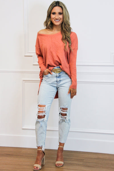 On My Mind Sweater: Coral - Bella and Bloom Boutique