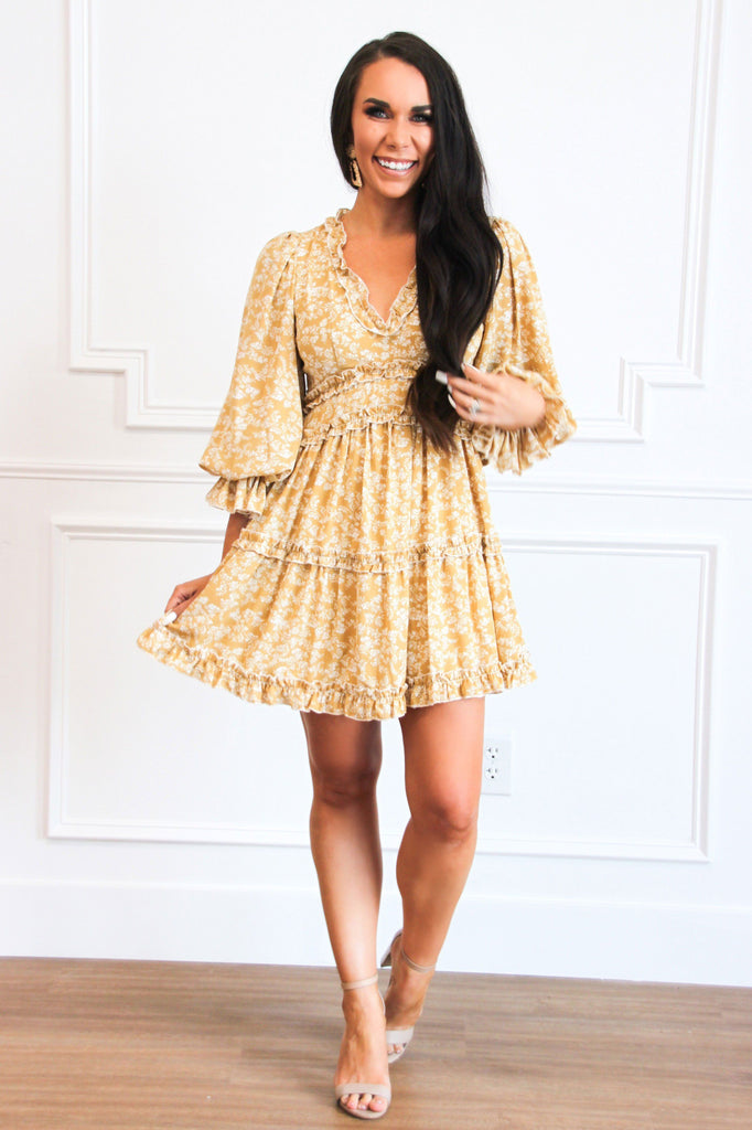 RESTOCK: Sweetheart Floral Dress: Mustard - Bella and Bloom Boutique