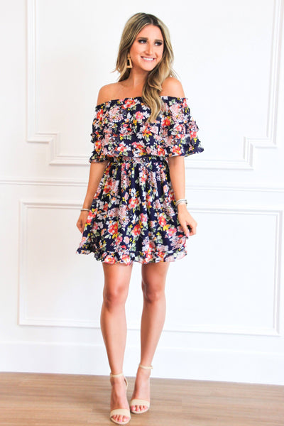 Covered in Florals Dress: Navy