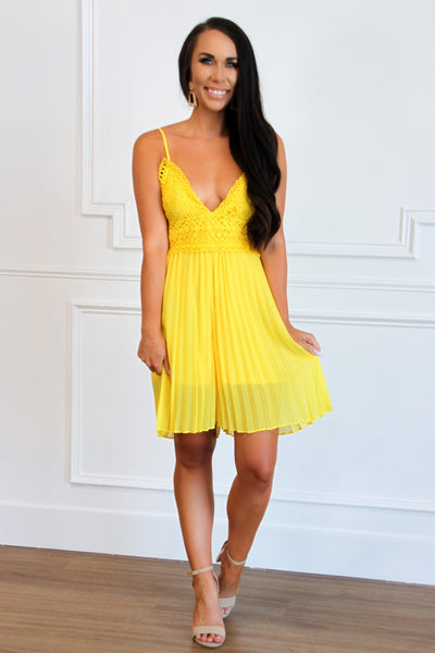 Pleated Beauty Romper: Yellow - Bella and Bloom Boutique