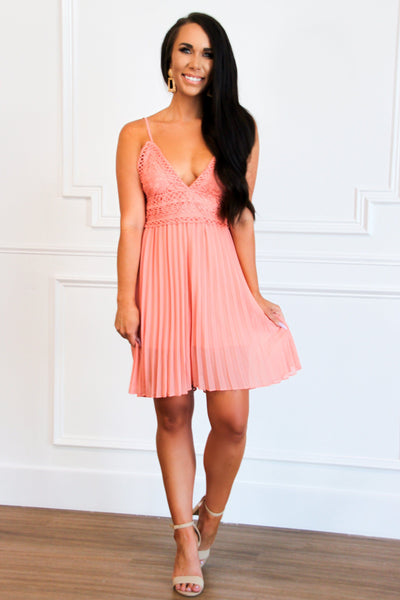 Pleated Beauty Romper: Peach - Bella and Bloom Boutique