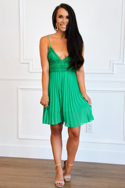 Pleated Beauty Romper: Green - Bella and Bloom Boutique