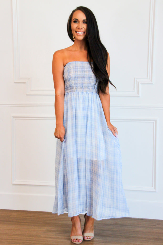 Gingham Crush Maxi Dress: Blue - Bella and Bloom Boutique