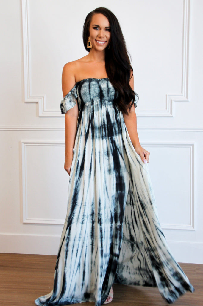 Dreamer Tie Dye Maxi Dress: Navy/Ivory - Bella and Bloom Boutique