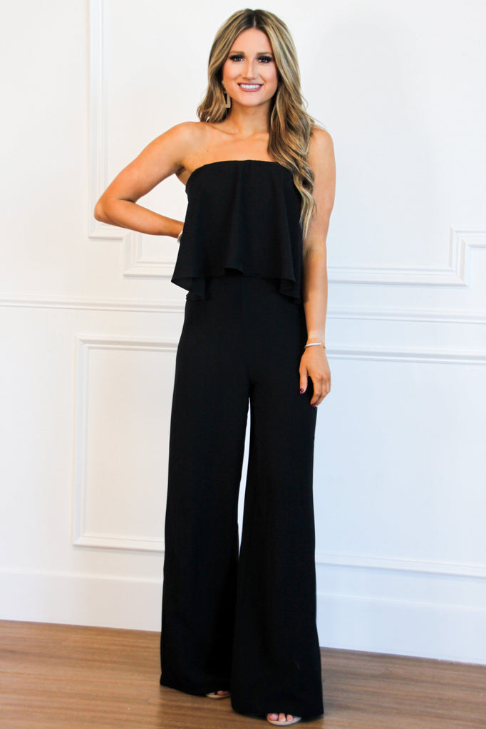 Hopelessly Devoted Jumpsuit: Black - Bella and Bloom Boutique